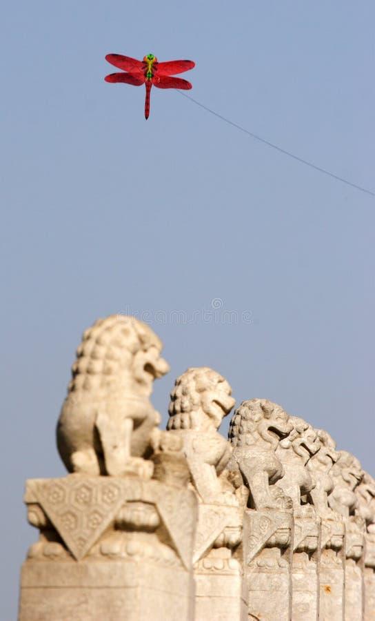 lion statue and kite stock photos