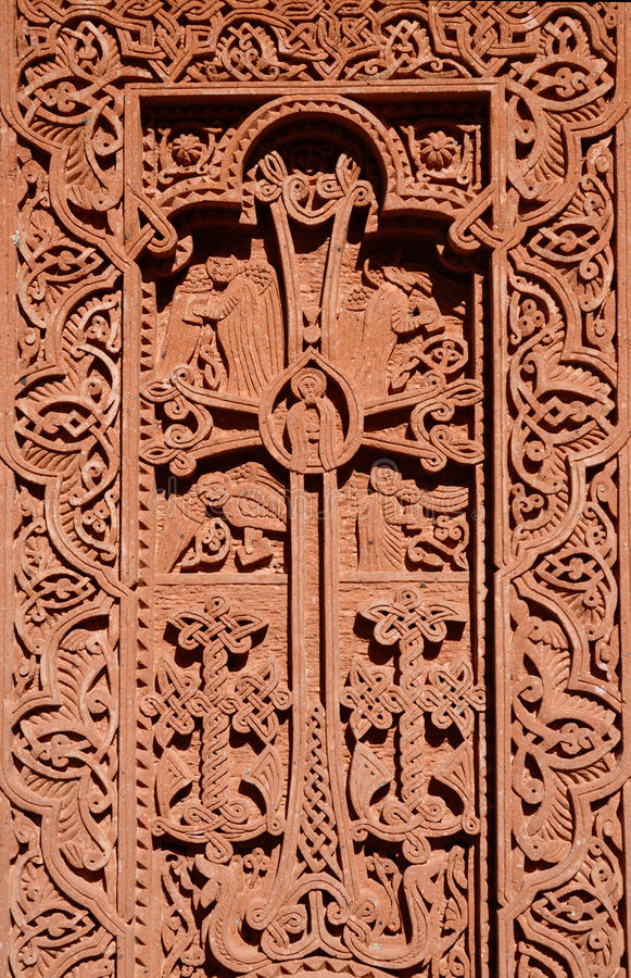 Stone carving - christian cross with floral ornament,Armenia stock images