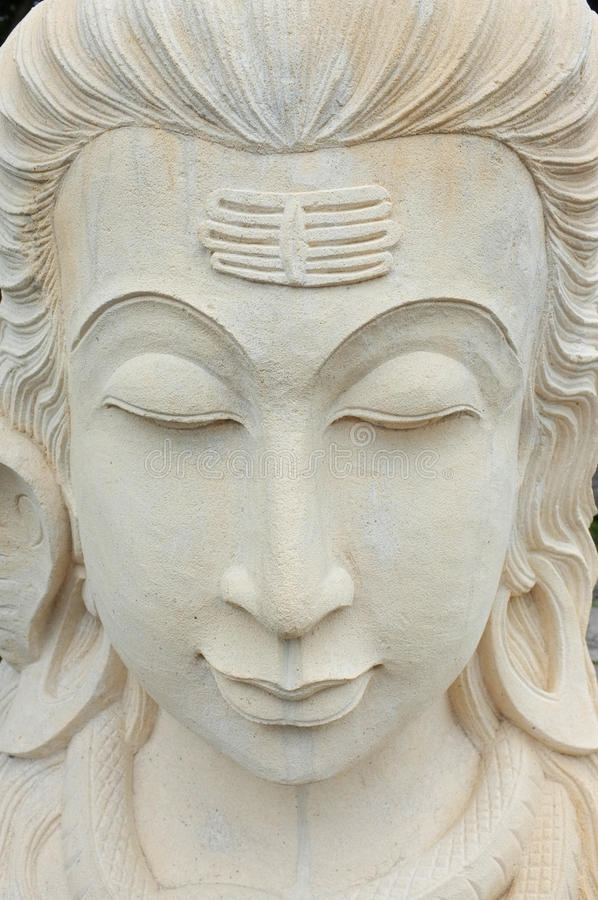 The stone carving of hindu goddess dewi saraswati