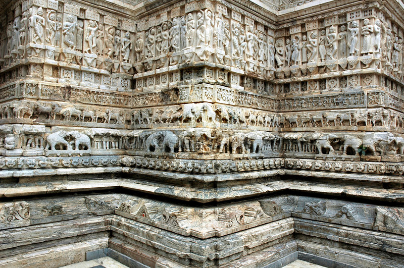 Stone carving at Jagdish Temple, Udaipur stock photos