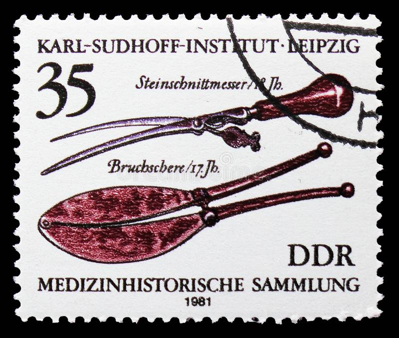 Stone Carving Knife (18th c,), Breaking Scissors (17th c.), Medical History Collection, Karl Sudhoff Institute, Leipzig serie, royalty free stock image