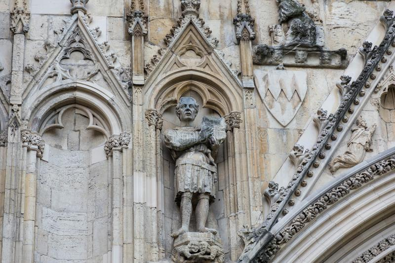 Stone carving of a knight royalty free stock photography