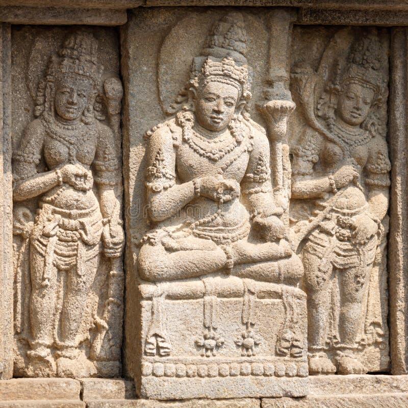 Stone carving of Prambanan Hindu temple, Yogyakarta, Java royalty free stock image