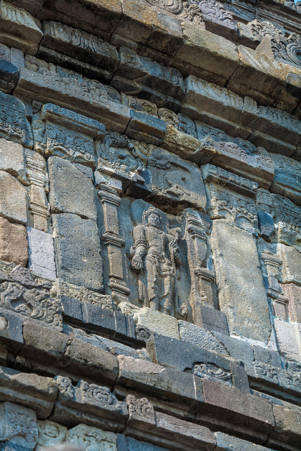 Stone carving of Prambanan Hindu temple, Yogyakarta, Java stock photography