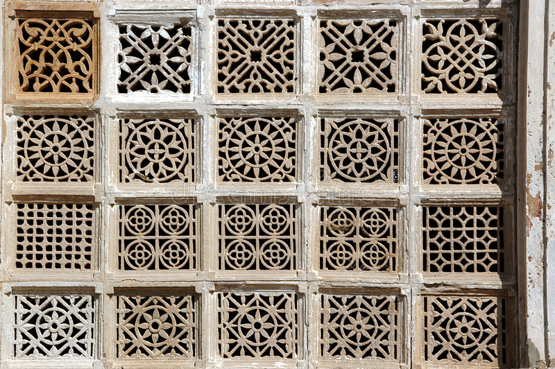 Stone carving at Sarkhej Roja, Ahmedabad, India. HISTORICAL IMPORTANCE Sarkhej Roza comprises one of the most elegant and unique architectural complexes of stock image