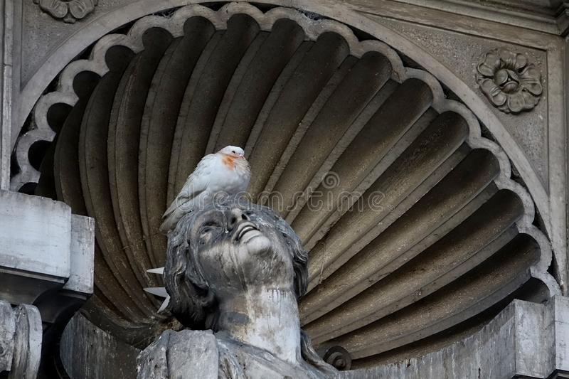 Stone Carving, Sculpture, Statue, Pigeons And Doves stock image