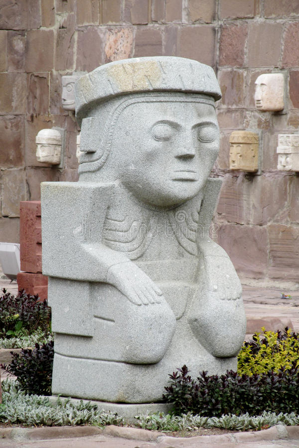 Stone carving sculptures from Tiwanaku. Stone carving face sculptures from Tiwanaku on the square in La Paz, Bolivia stock photography