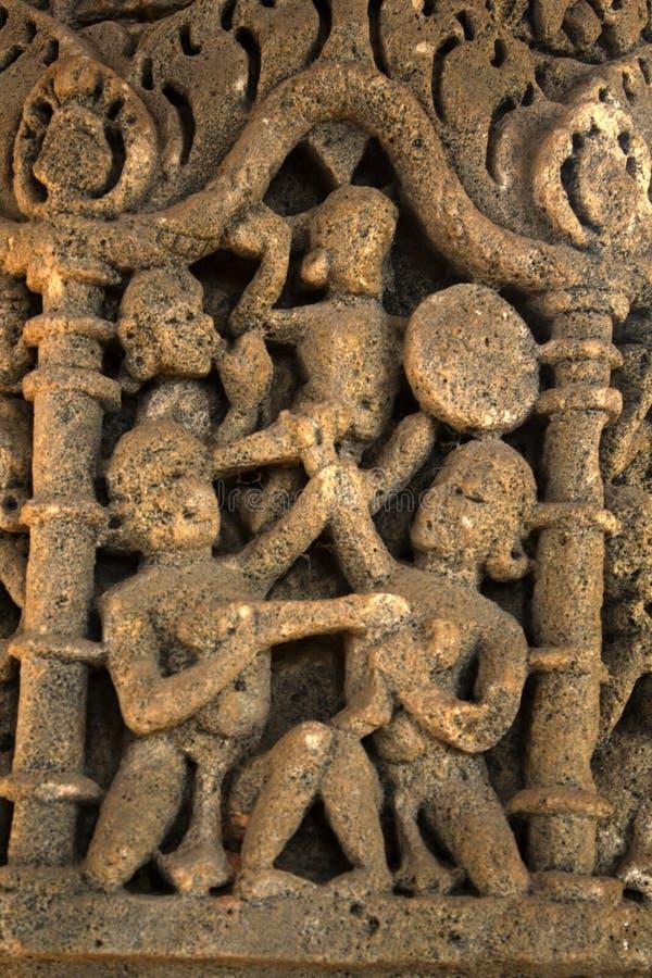 Stone carving at Sun Temple, Modhera stock photos
