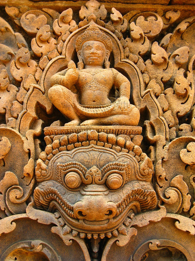 Stone carvings angkor wat stock image of
