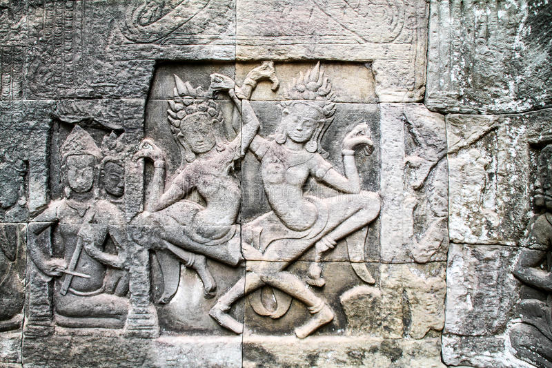 Stone carvings on angkor wat siem reap cambodia stock