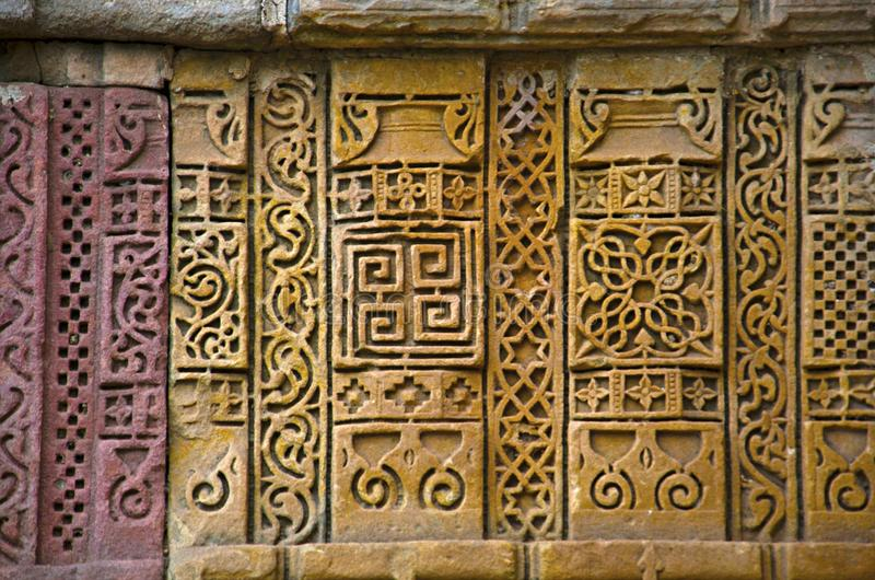 Stone carvings on outer wall of Jami Masjid Mosque, UNESCO protected Champaner - Pavagadh Archaeological Park, Gujarat, India. Dates to 1513, construction over royalty free stock photography