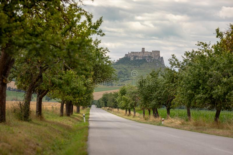 A stone castle on the hill. Spis Castle, Slovakia_1. The picture shows the castle on the hill. The castle is in Slovakia stock images