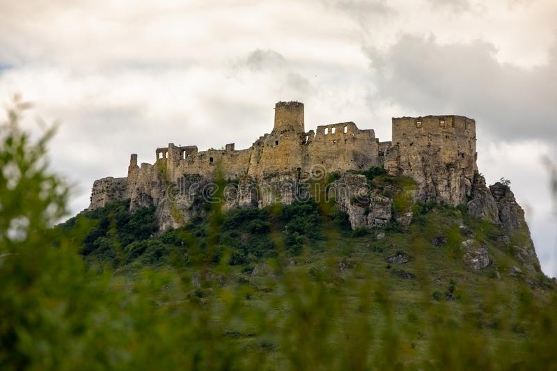 A stone castle on the hill. Spis Castle, Slovakia_2. The picture shows the castle on the hill. The castle is in Slovakia royalty free stock images