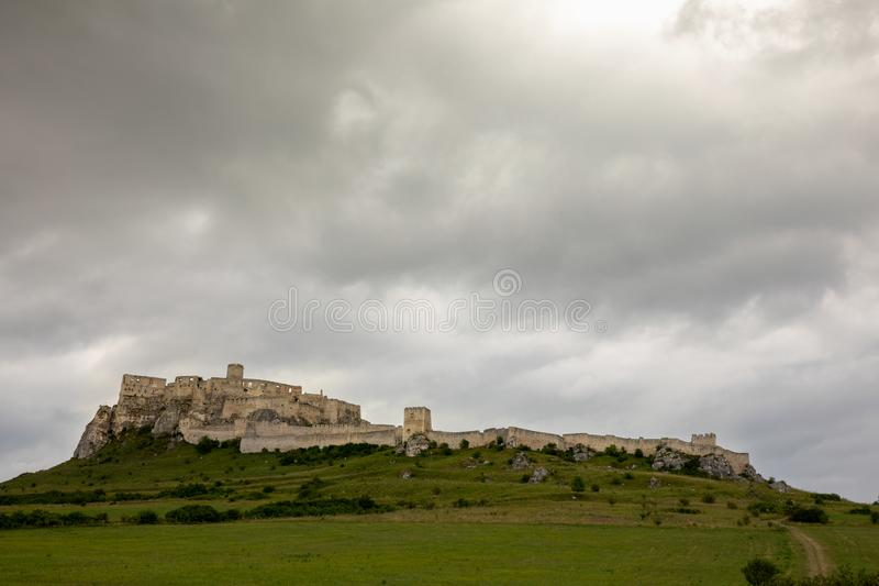 A stone castle on the hill. Spis Castle, Slovakia_3. The picture shows the castle on the hill. The castle is in Slovakia royalty free stock image