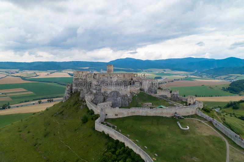 A stone castle on the hill. Spis Castle, Slovakia_7. The picture shows the castle on the hill. The castle is in Slovakia royalty free stock images