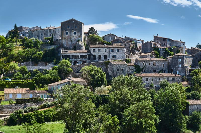 Stone castle and homes in the medieval town of Balazuc in France. Stone castle and homes in the medieval town stock images