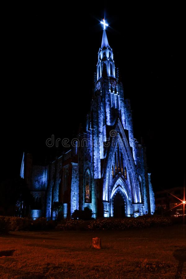 Stone cathedral city Canela / Gramado with blue illumination, Rio Grande Do Sul, Brazil - Church city Canela Rio Grande Do Sul, Br royalty free stock photos
