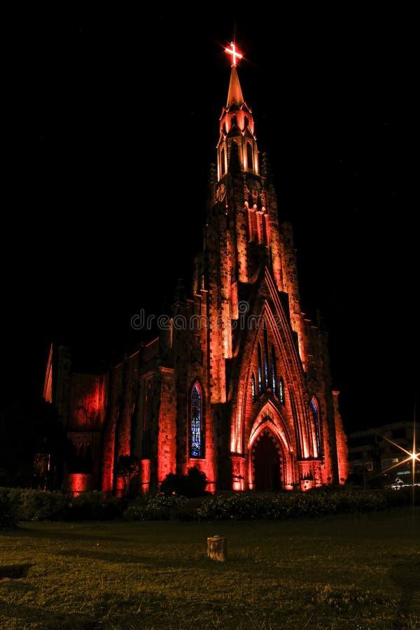 Stone cathedral city Canela / Gramado with orange illumination, Rio Grande Do Sul, Brazil - Church city Canela Rio Grande Do Sul, stock images