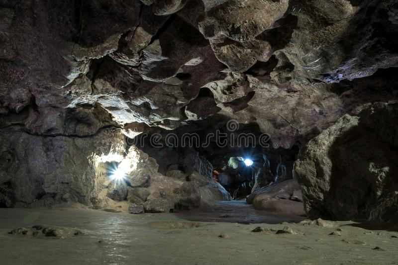 Stone cave inside. ancient crystal formations, stones, geology, the study of rocks of the soil. village Kryvche. Ukraine.  stock photos