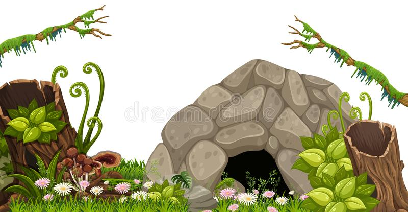 A Stone Cave in Nature. Illustration stock illustration