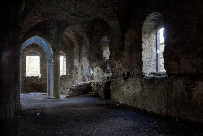 Stone cellar gothic vault ancient building, Villers la Ville, Belgium royalty free stock images