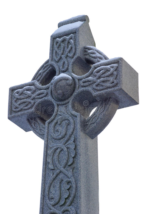 Stone Celtic Cross Head With Snow Isolated On White Stock