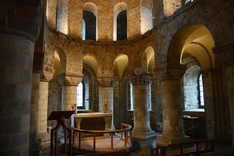 St. John`s Chapel, White Tower, Tower of London. Stone chapel, built in the 11th Century, inside the Tower of London stock image