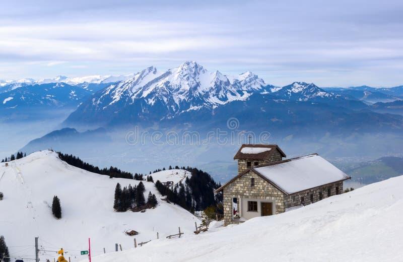 Stone chapel on the Swiss alps, Rigi Kulm, stock photography