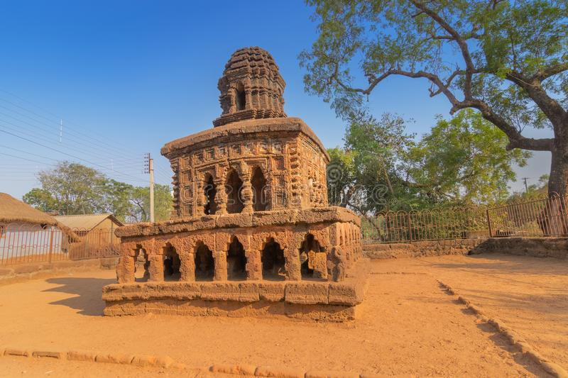 Stone chariot of Bishnupur, West Bengal , India. A famous small double storied structure built on laterite plinth - represents typical Bishnupur style of royalty free stock photo