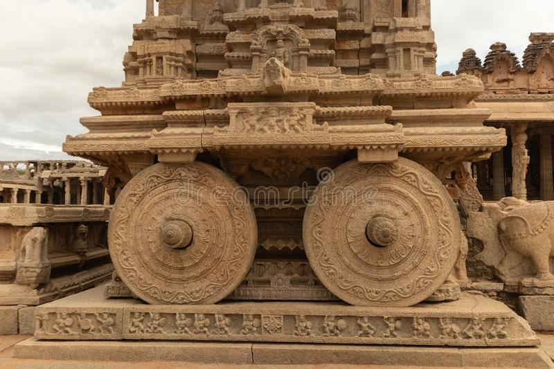 Stone chariot in courtyard of Vittala Temple in Hampi, Karnataka, India.  stock photo