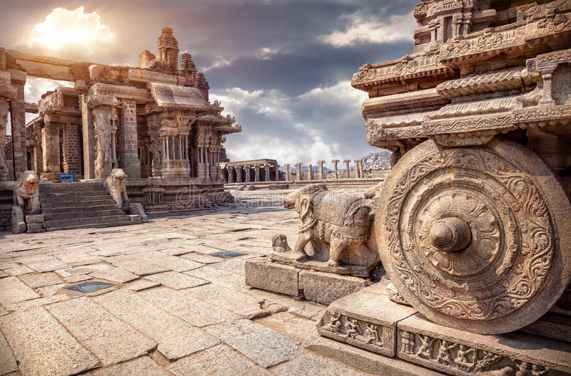 Stone chariot in Hampi royalty free stock images