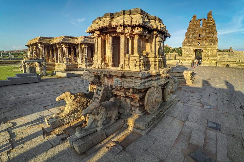 The Stone Chariot at Hampi stock images