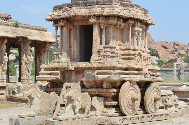 Stone chariot at Vijaya Vittala temple, Hampi Karnataka, India stock image