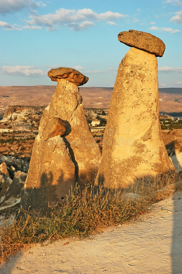Stone chimneys Cappadocia royalty free stock images