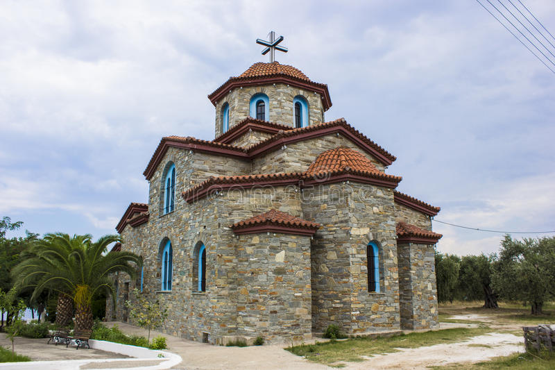 Stone church in Thassos Greece stock photography