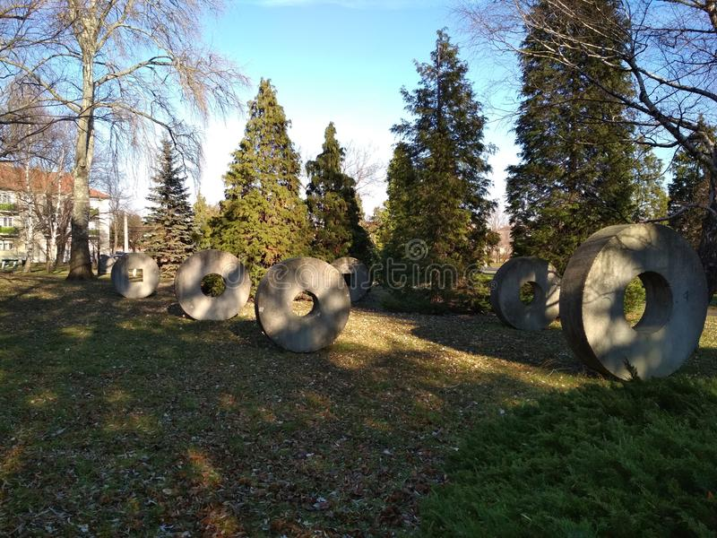 Stone circles in a park stock photo