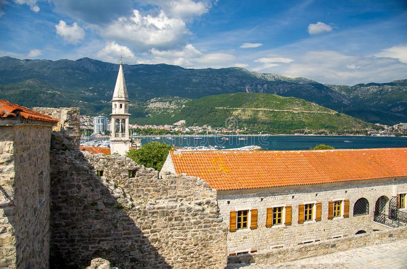 Stone citadel fortress in Old town Budva, Adriatic Riviera, Mont stock image