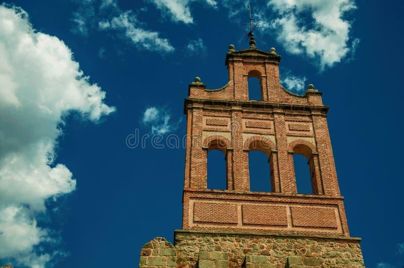 Stone city wall and tower made by bricks in Avila stock photos