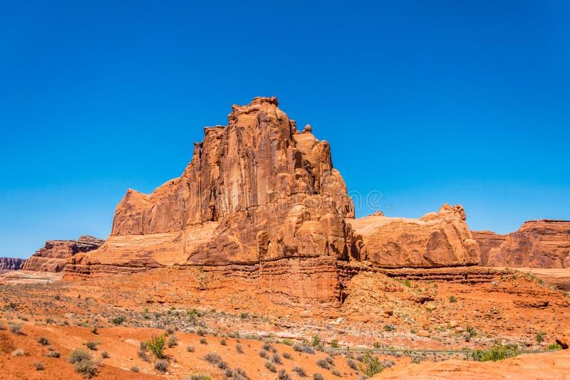 Stone cliffs in the Arches National Park, Utah. Desert Southwest USA. Desert Moab, Utah, Southwest of the USA. Nature of the Arches National Park. Erosion of stock images