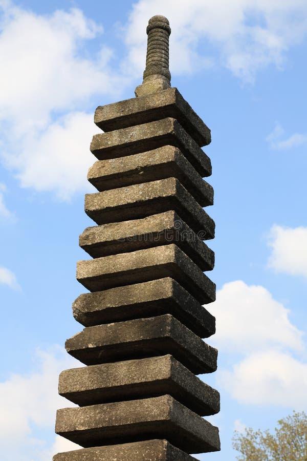 Stone column in japan garden stock images