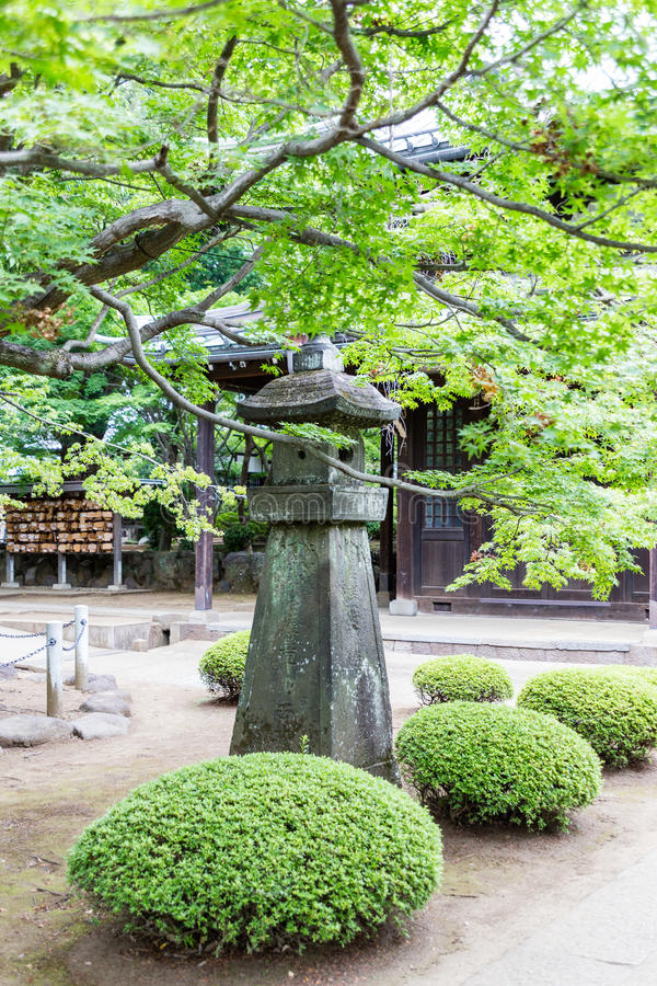 Stone column at Japanese temple stock images