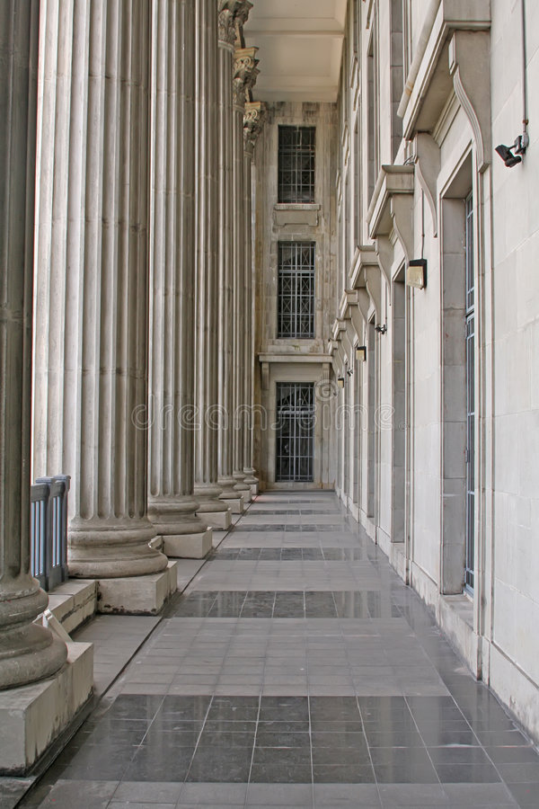 Stone columns in a judicial law building royalty free stock photography