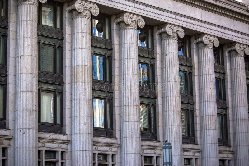 Stone columns seen on stoic building. Salt Lake City stock image