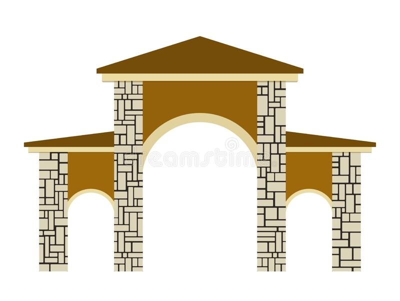 Stone columns. Vector illustration of a gate. Isolated on white background royalty free illustration