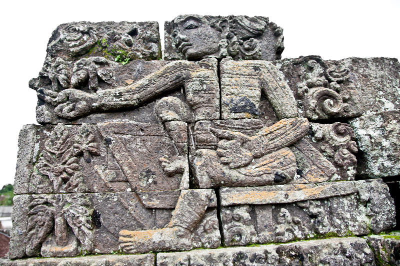 Stone craft in Candi Jago Temple near by Malang on Java royalty free stock photo