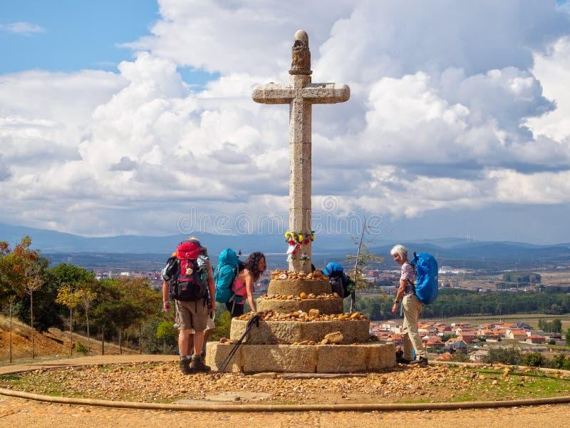 Stone cross commemorating Bishop Toribio - Astorga stock photos