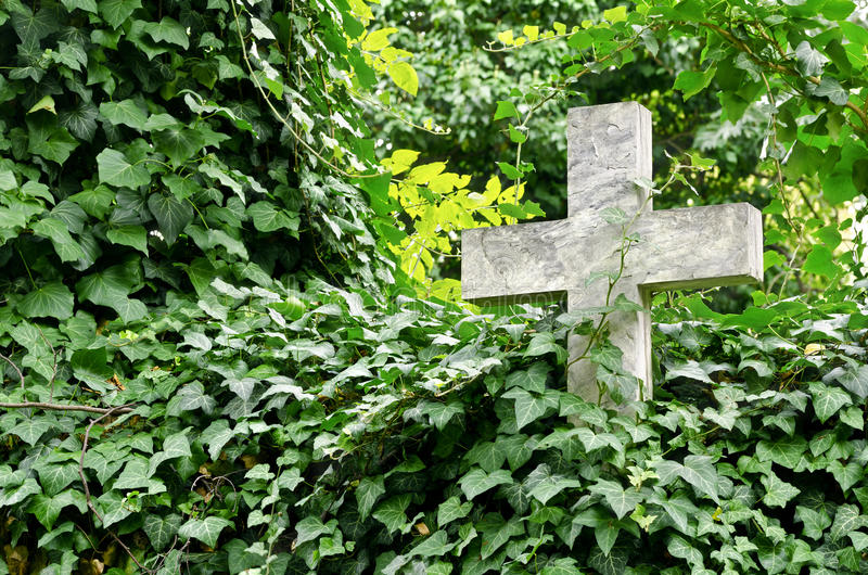 Download Stone cross stock photo. Image of graves, green, flora - 33549214