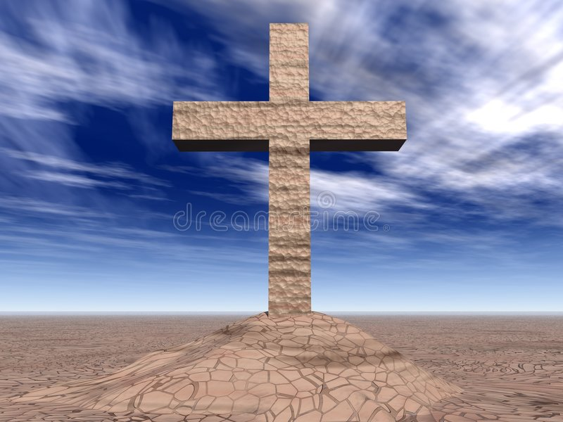 Stone cross on the cracked ground