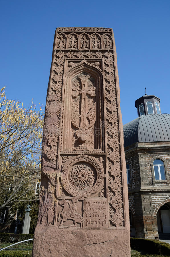 Stone cross in Echmiadzin (Vagharshapat),medieval christian art,Armenia royalty free stock photo