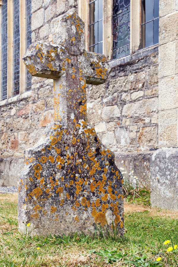 Stone cross tombstone royalty free stock image